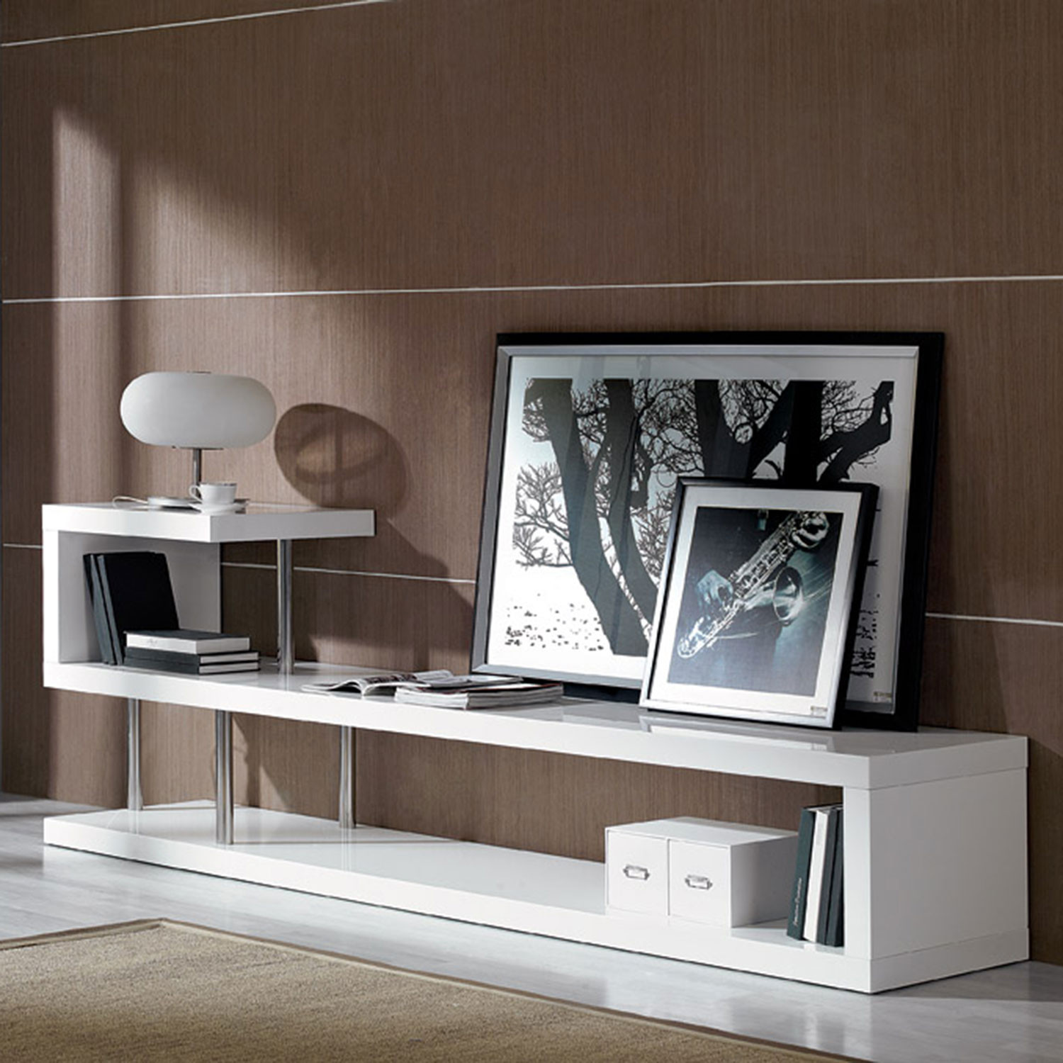 Win 5 Lacquer Tv Stand White Vig Furniture Touch Of