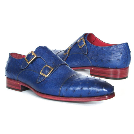 Genuine Ostrich Double Monkstraps // Sax Blue (Euro: 38)