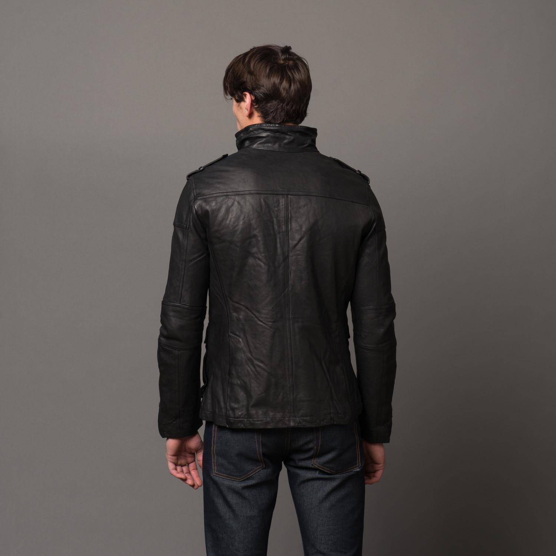 Leather jacket xs - Leroy Leather Utility Jacket Xs
