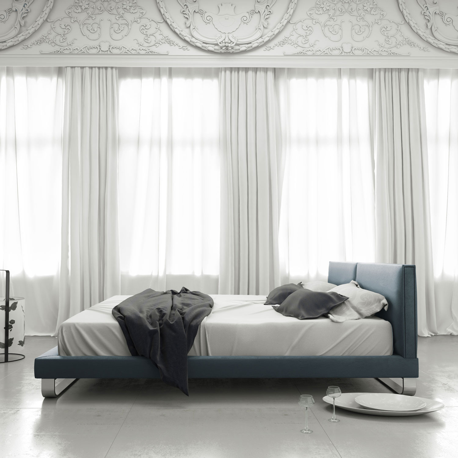 Chelsea Bed Summer Blue Leather California King 81 L X 93 W X 29 H Modloft Bedroom Touch Of Modern