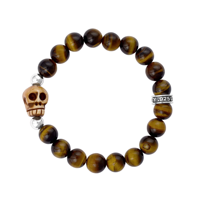Brown tiger eye bead bracelet bone skull king baby for King baby jewelry sale