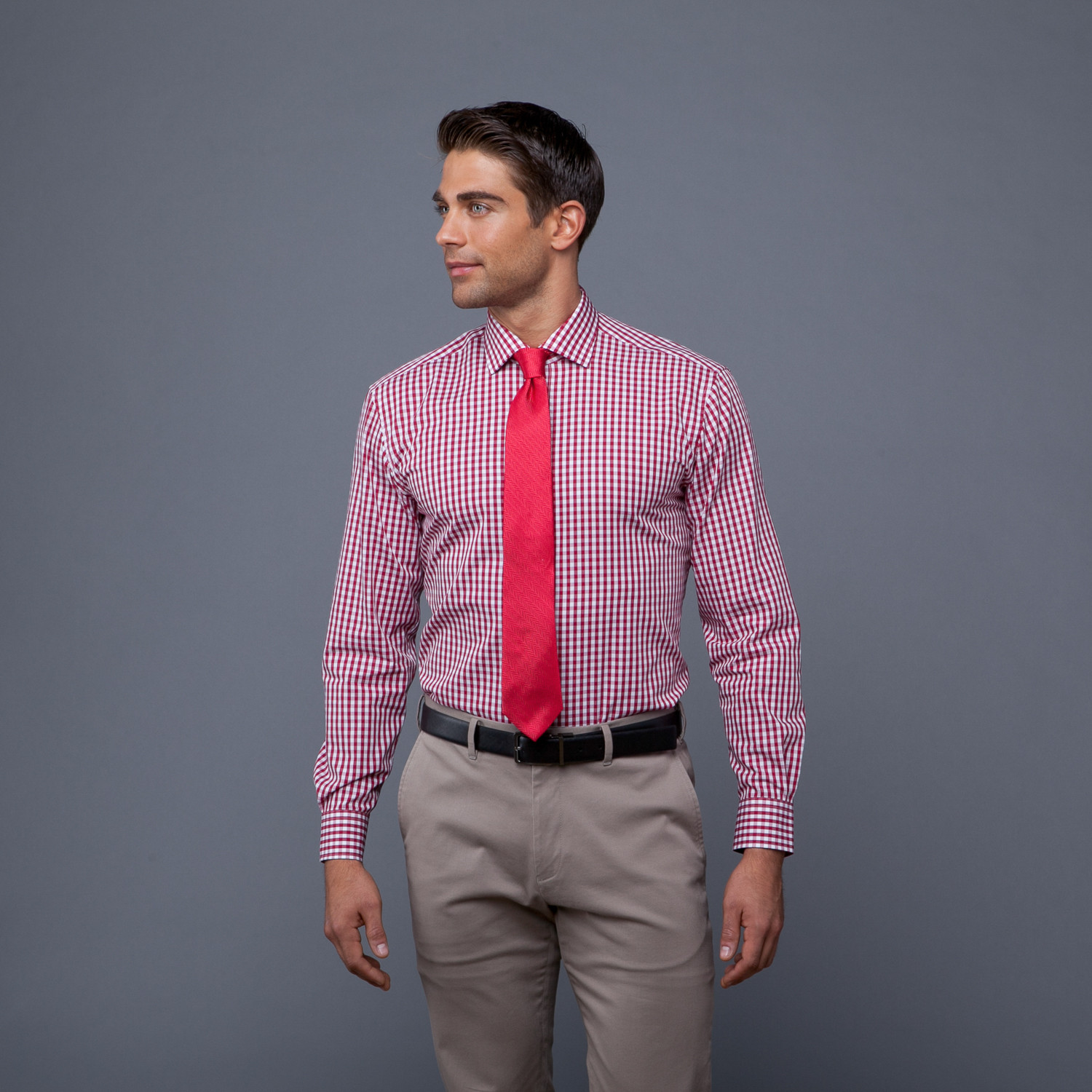 red gingham shirt and tie