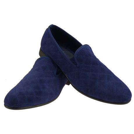Duke & Dexter // Brushed Velvet Quilted Loafer // Blue (UK: 8)