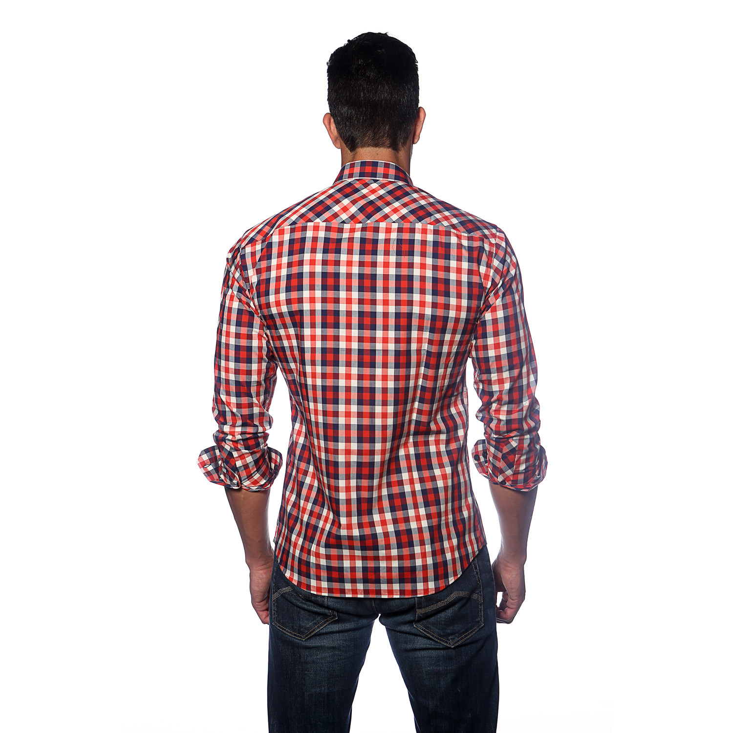 Long sleeve button up shirt red blue white plaid s for Red white and blue plaid shirt