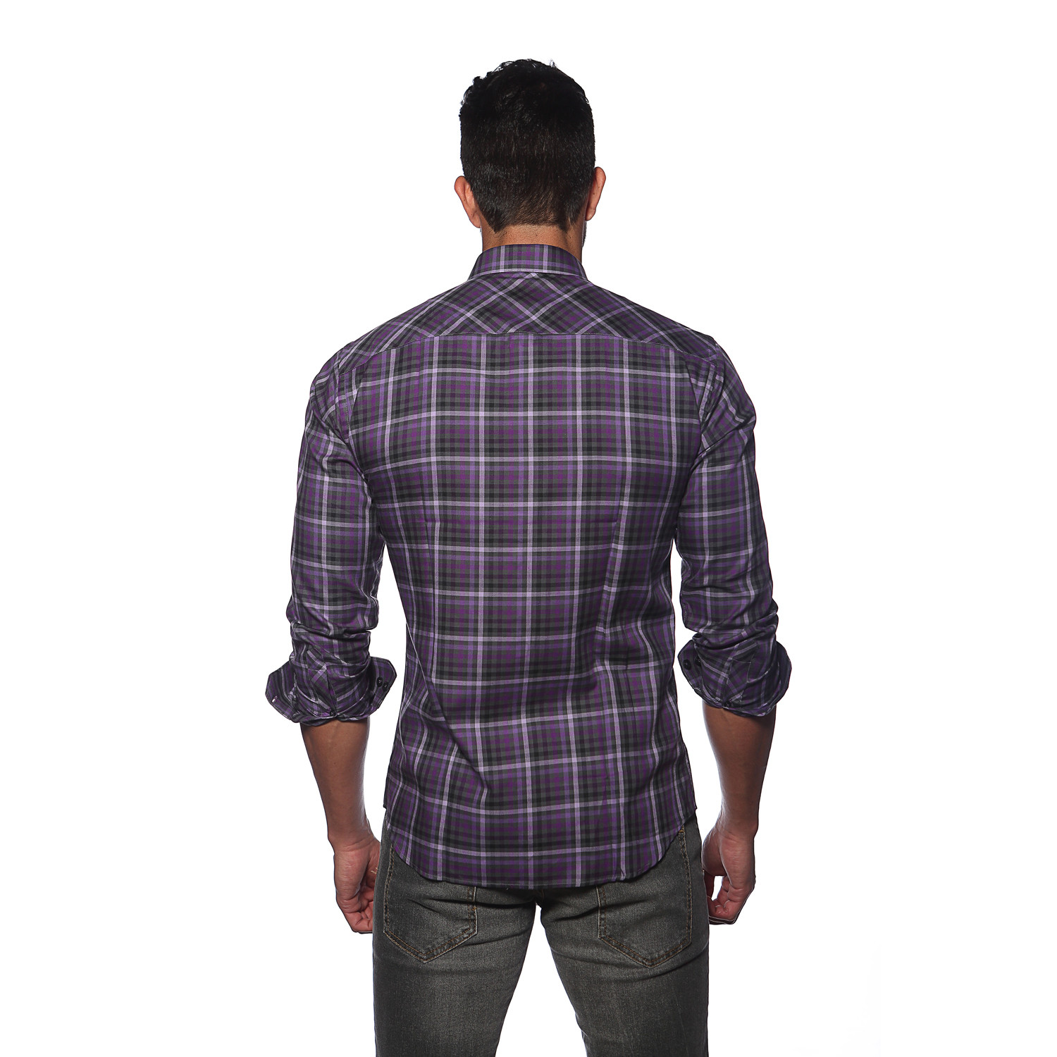 Kali Button Up Shirt Purple Plaid S Jared Lang New