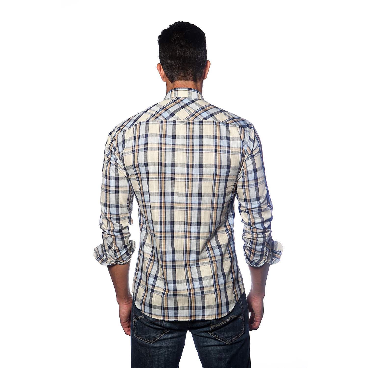 Long sleeve button up shirt off white blue plaid s for Blue button up work shirt