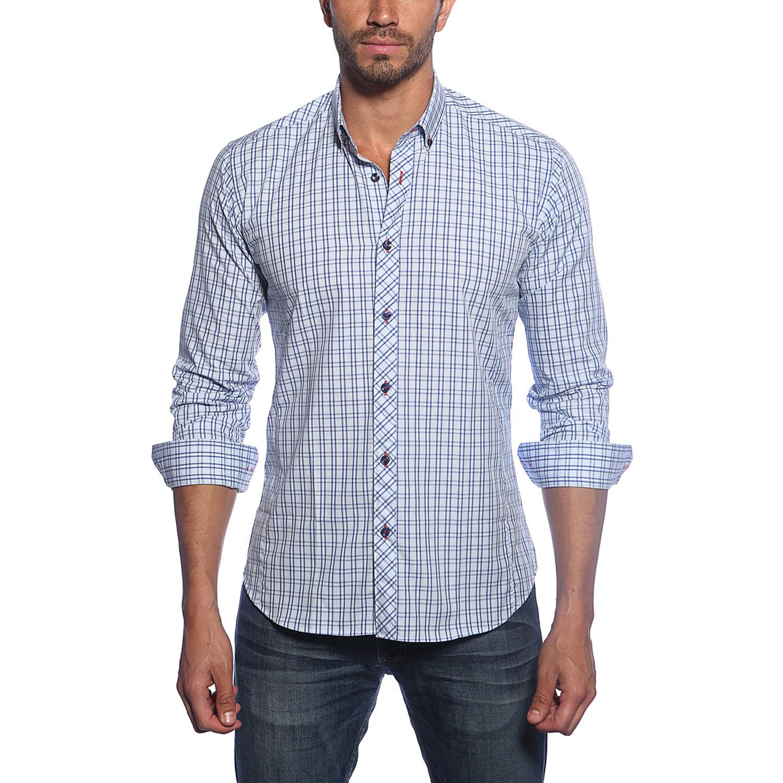 Jared Lang Long Sleeve Button Up Shirt Blue Navy