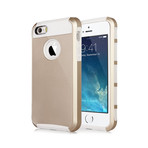 Gold Rugged Soft & Hard Case // White (iPhone 5, 5S)