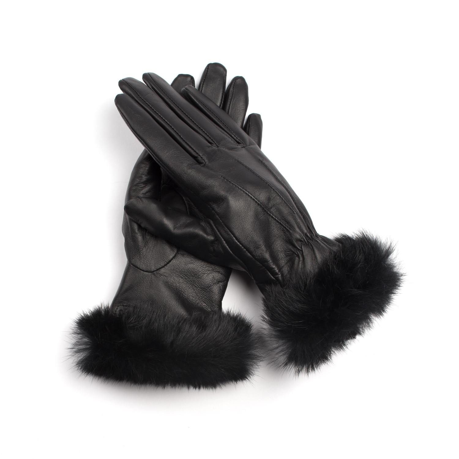 Womens leather touchscreen gloves - Leather Touch Screen Lined Glove Women Rabbit S Fur Small