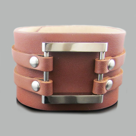 Leather Stainless Steel Square Wide Bracelet