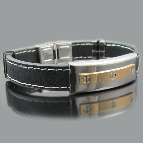 Leather 18K Gold Plated Stainless Steel Screw Bracelet