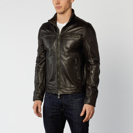 Wire Collar Leather Jacket // Black (S)