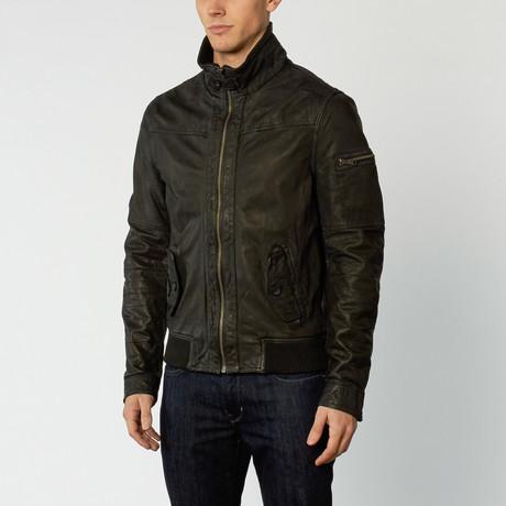 Leather Bomber Jacket // Black (S)