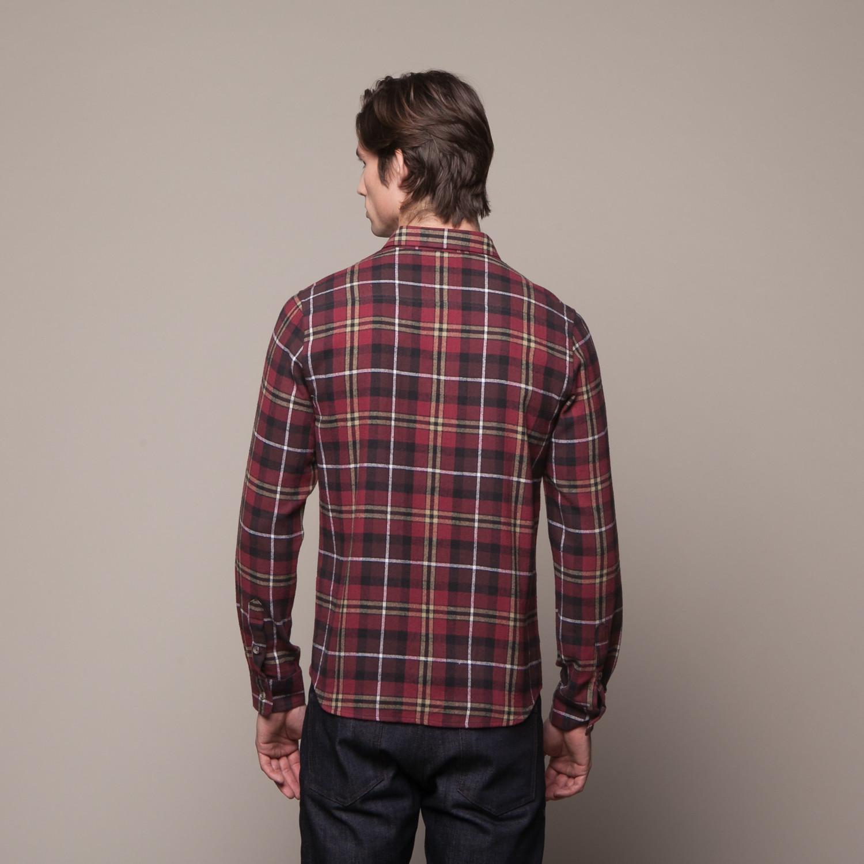 buttondown flannel shirt dark red s bestall touch