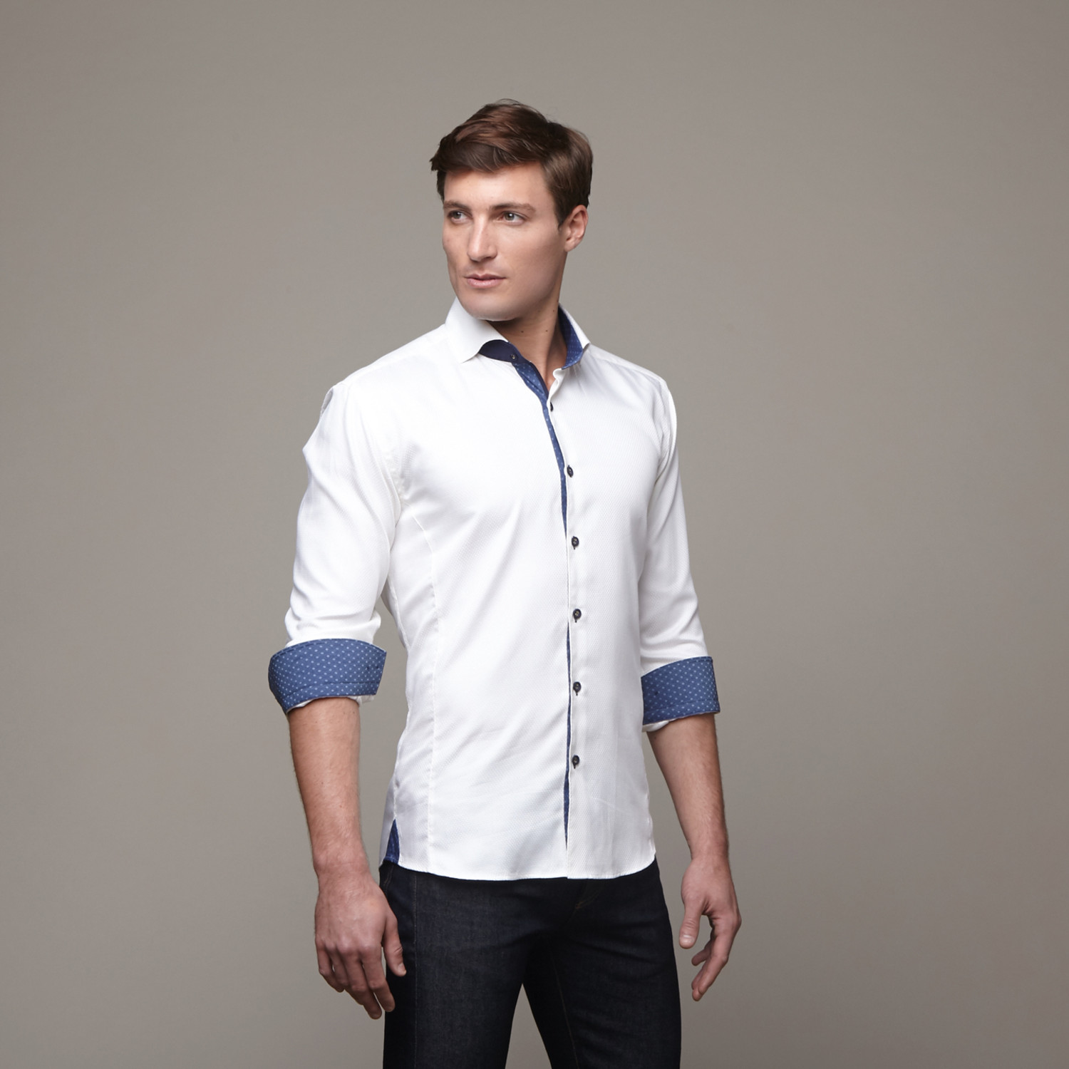 Wall street dress shirt off white navy s maceoo for White military dress shirt