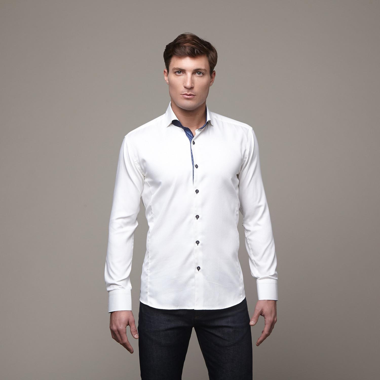 wall street dress shirt off white navy s maceoo