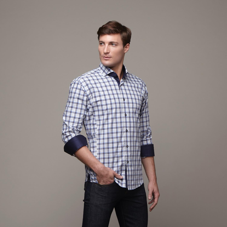 wall street dress shirt grey blue s maceoo