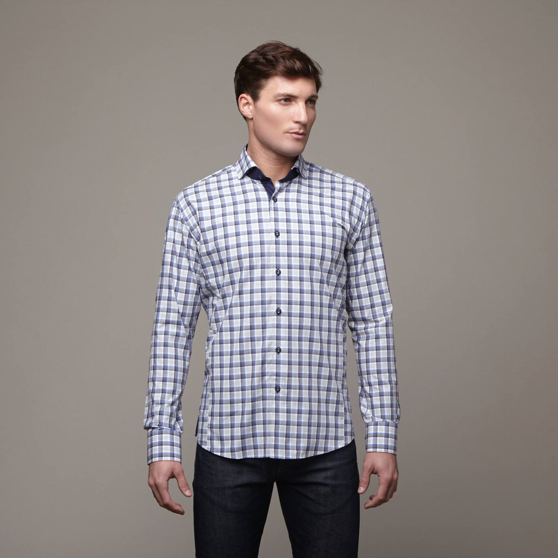 wall street dress shirt grey blue l apparel
