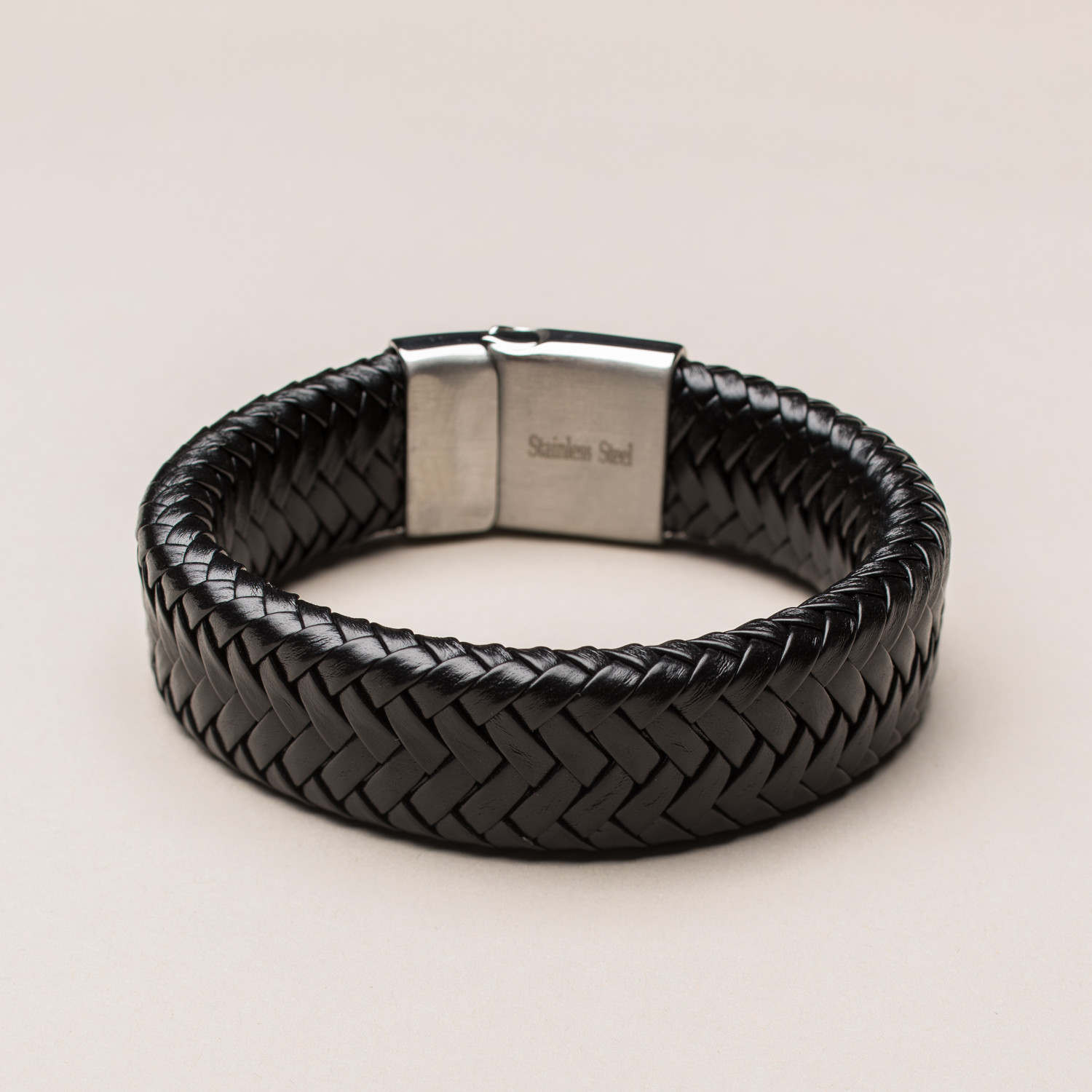 Fancy Genuine Thick Braided Leather Buckle Bracelet Black