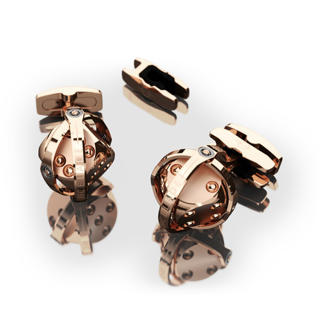 Dice Cufflink // Red Gold PVD