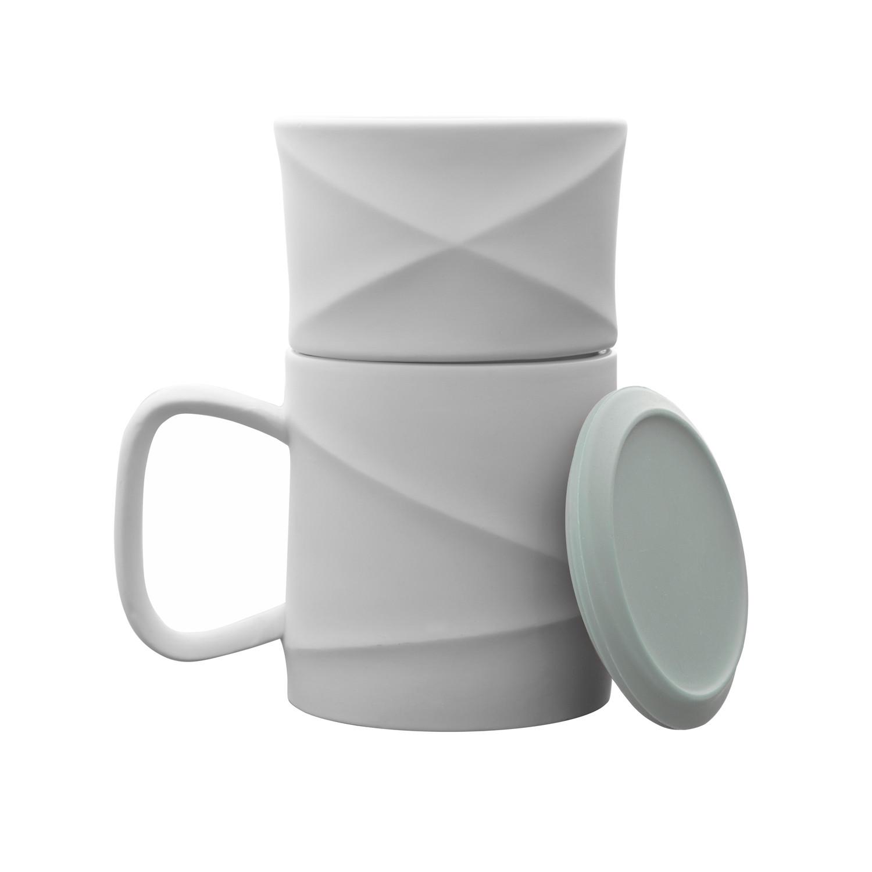 Wave Coffee Mug Set Warm Gray Coaster Toast Living