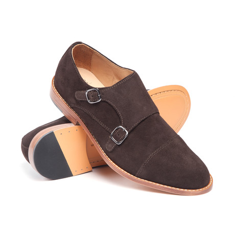 Price Leather Double Monk Strap // Brown (US: 8)