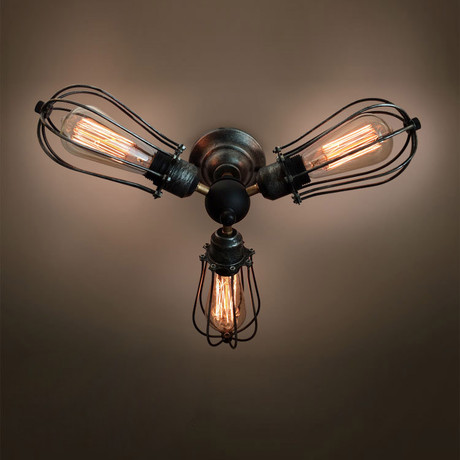 3-Armed Squirrel Cage Ceiling Light