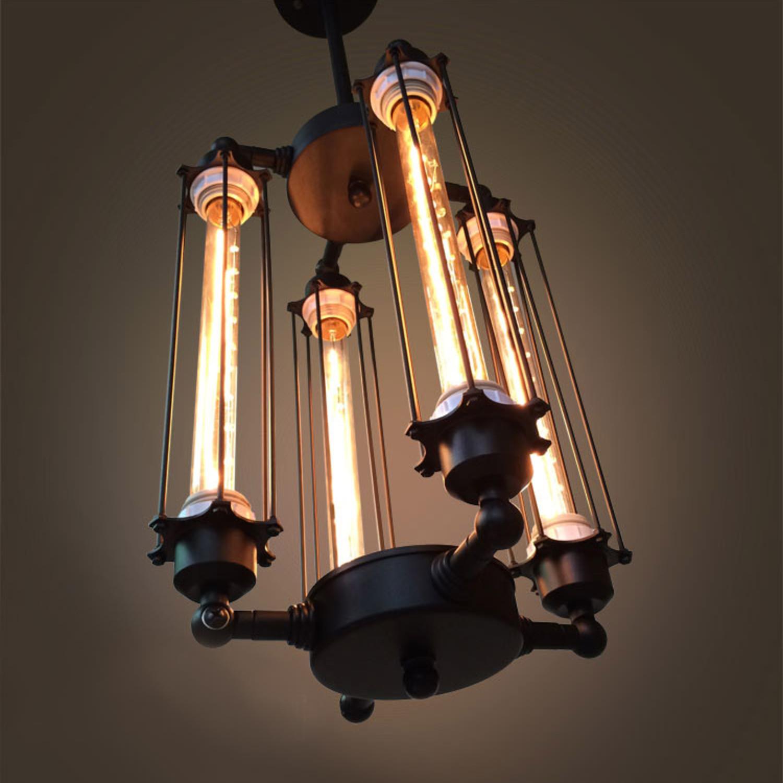 Chandelier With Edison Bulbs: 4 Light Caged Edison Bulb Chandelier