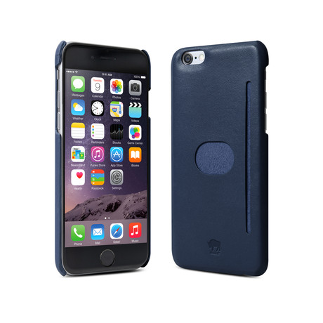 id America // Wall St. Genuine Leather Case iPhone 6+ // Navy (With Temper Glass)