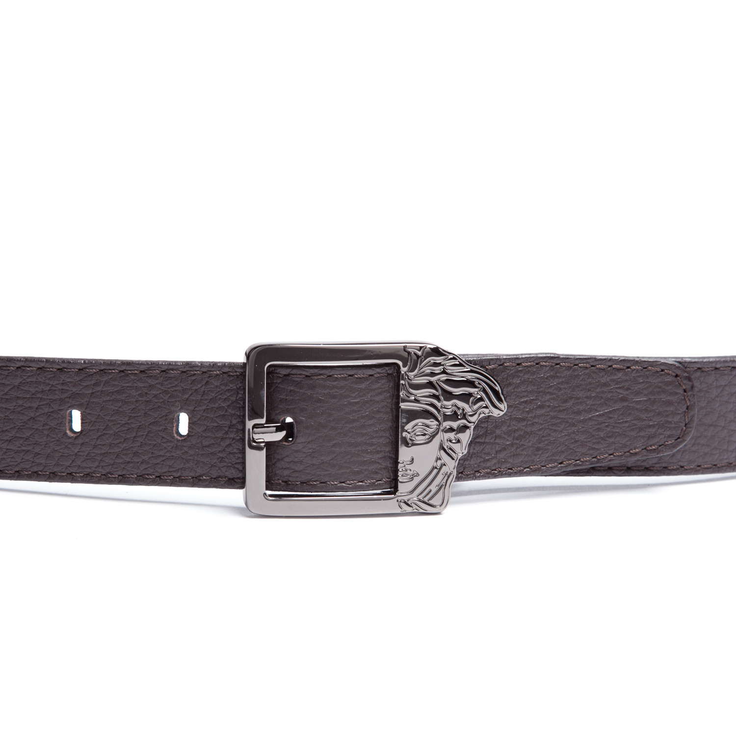 versace collection cutout leather belt brown 32