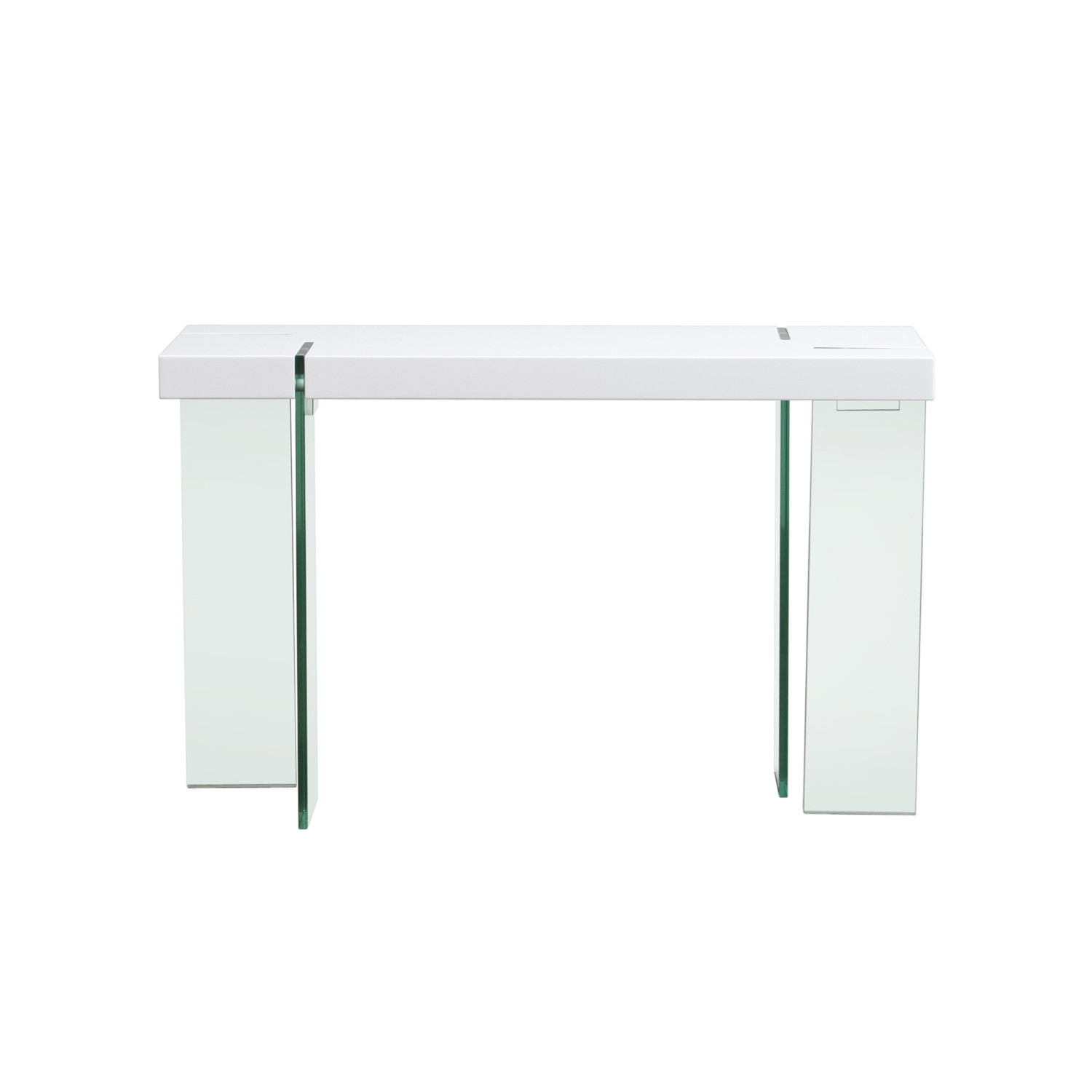 Glass leg console table white lacquer diamond sofa for White and glass console table