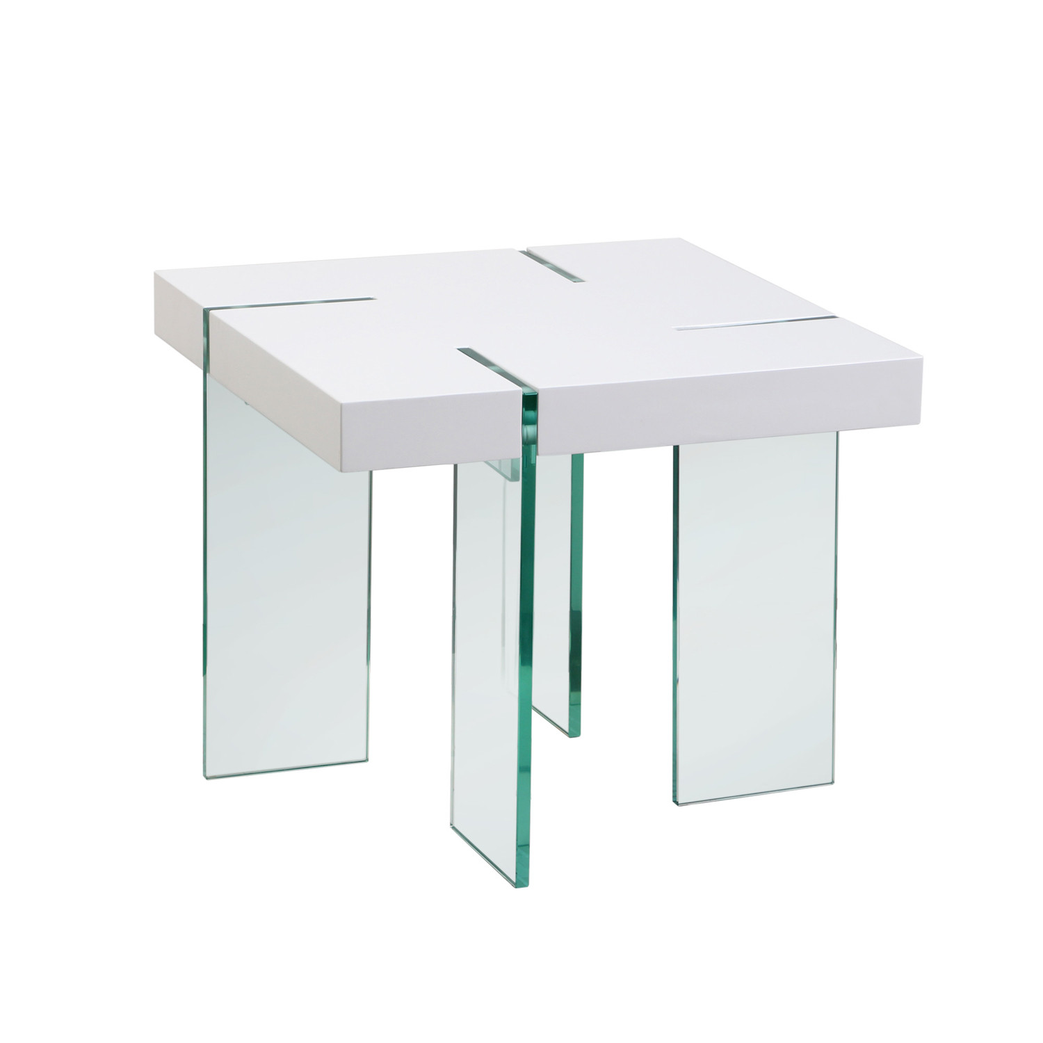 Glass leg end table white lacquer diamond sofa touch for White end table