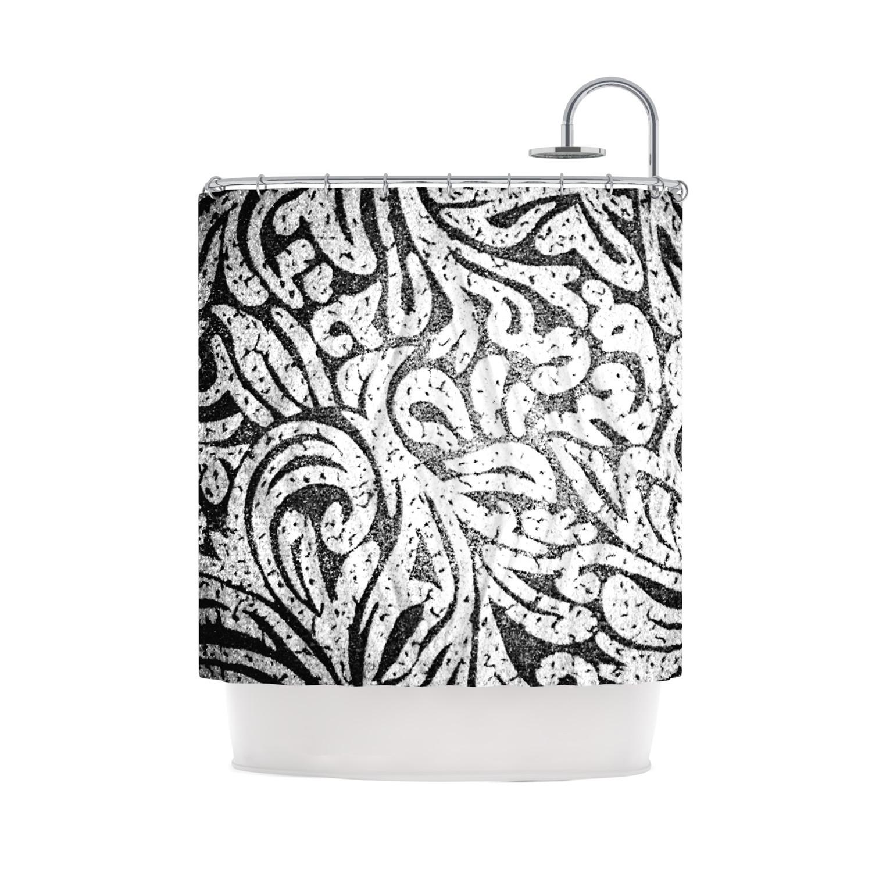 801961aa68e344fc100484ad064c4e8d Medium Caleb Troy Black And White Paisley Shower Curtain