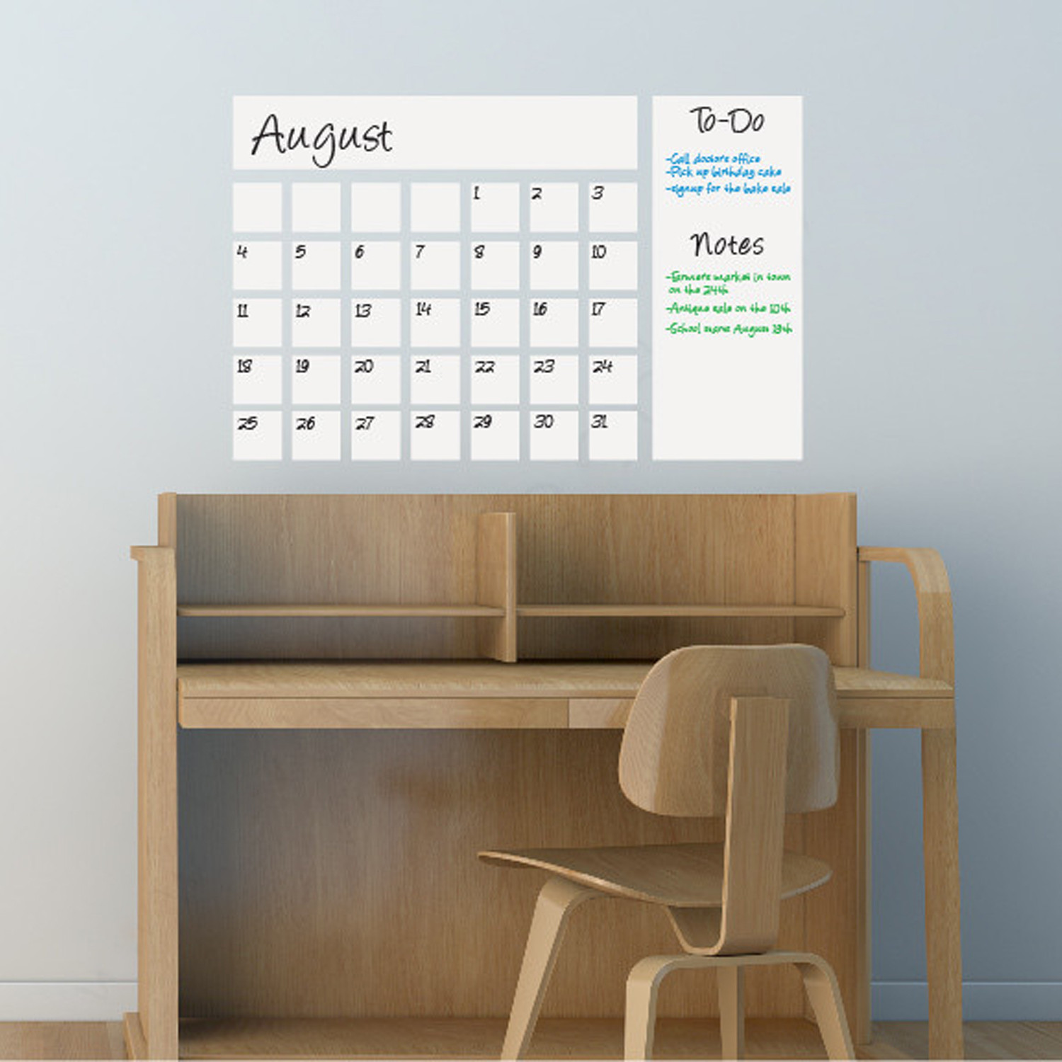 Dry Erase Calendar Decal // White & Dry Erase Calendar Decal // White - Writable Wall Calendars - Touch ...