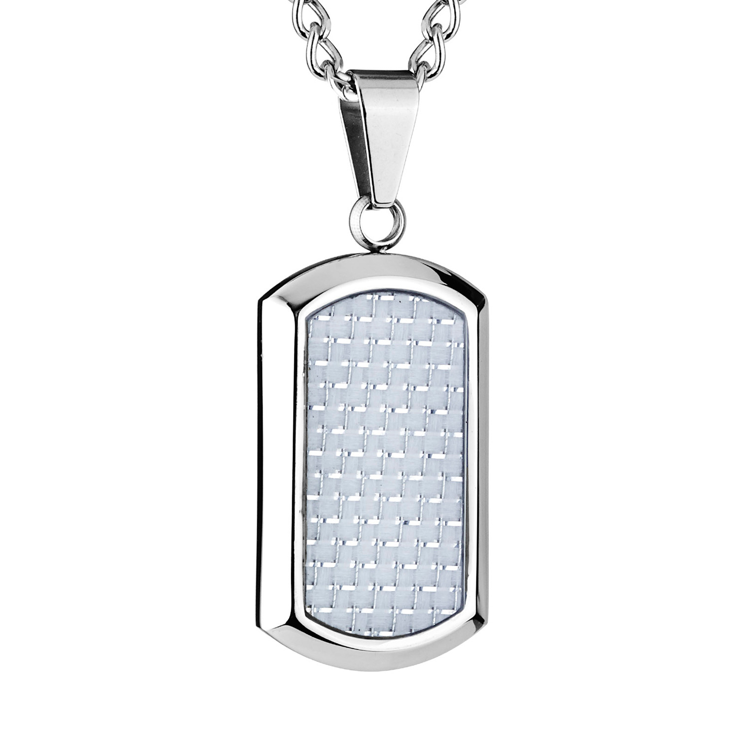 Carbon Fiber Diamontrigue Jewelry: Dog Tag Pendant // White Carbon Fiber