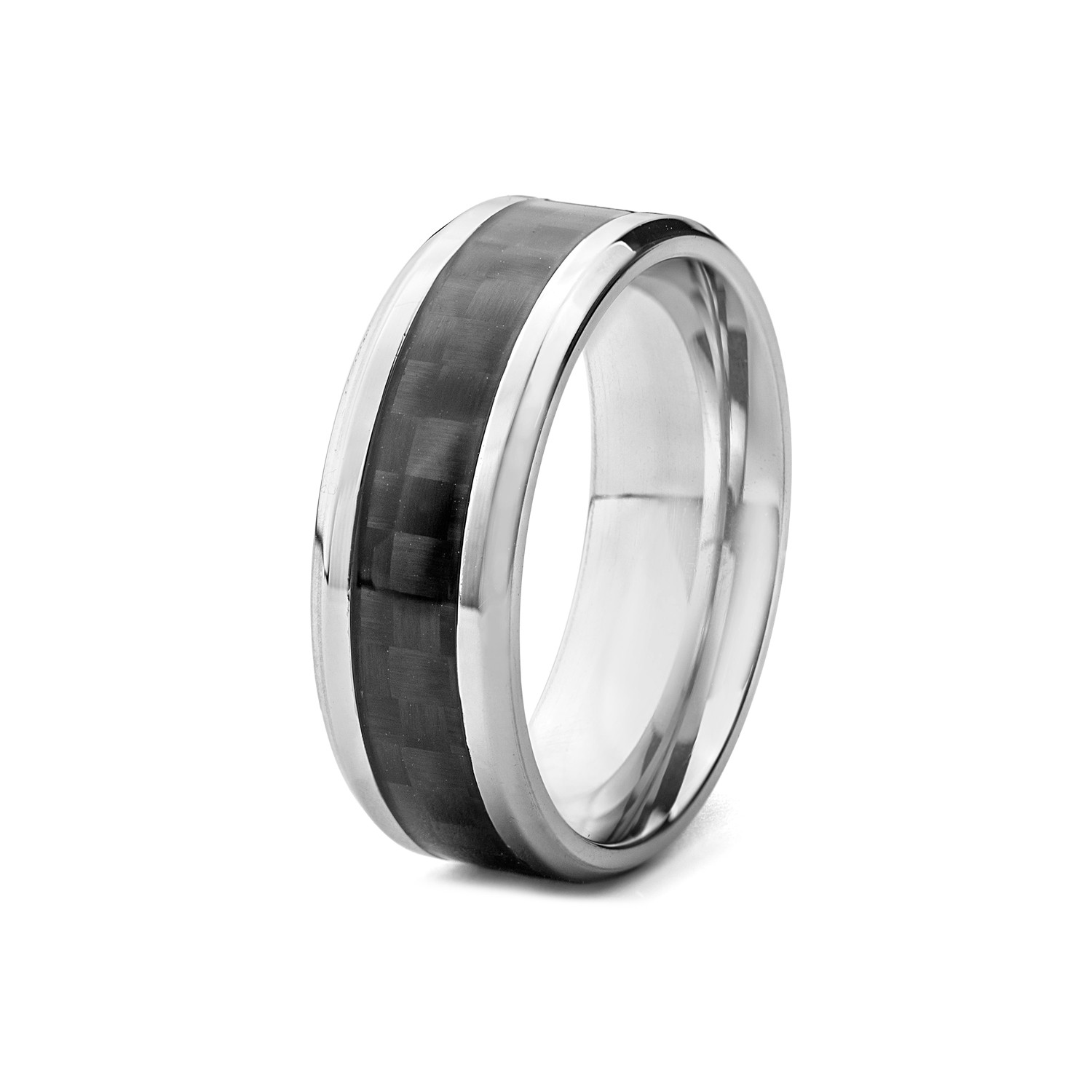 Carbon Fiber Diamontrigue Jewelry: Ring // Beveled Edge With Black Carbon Fiber Inlay (Size 7