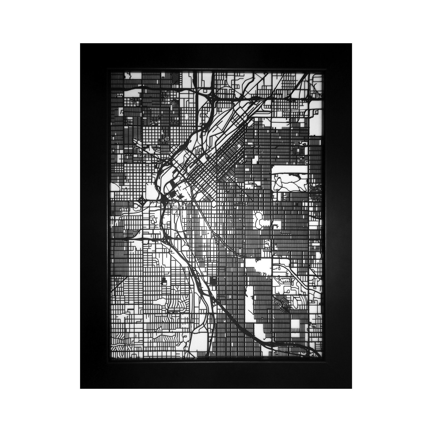 Denver Street Map Size 11x14 CarbonLight Touch of Modern