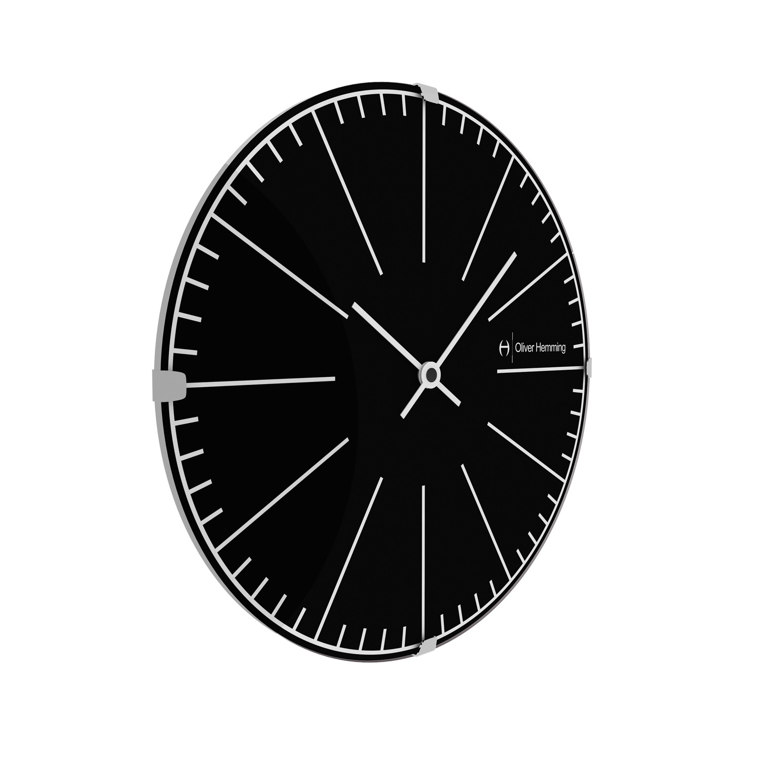 Domed Glass Wall Clock Future White Oliver Hemming