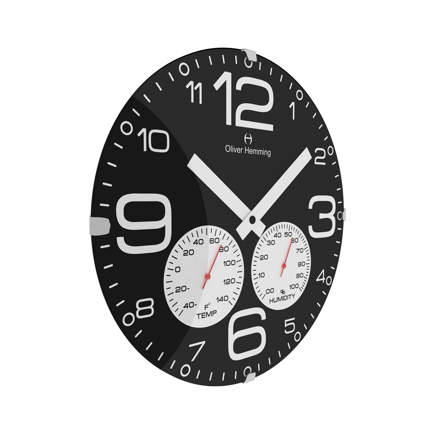 Domed glass wall clock weather station f black oliver domed glass wall clock weather station f black amipublicfo Image collections