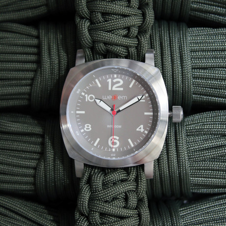 Traveler // Earl Grey + Army Green Paracord Strap (SM Strap: 15.5 - 16.5 cm)