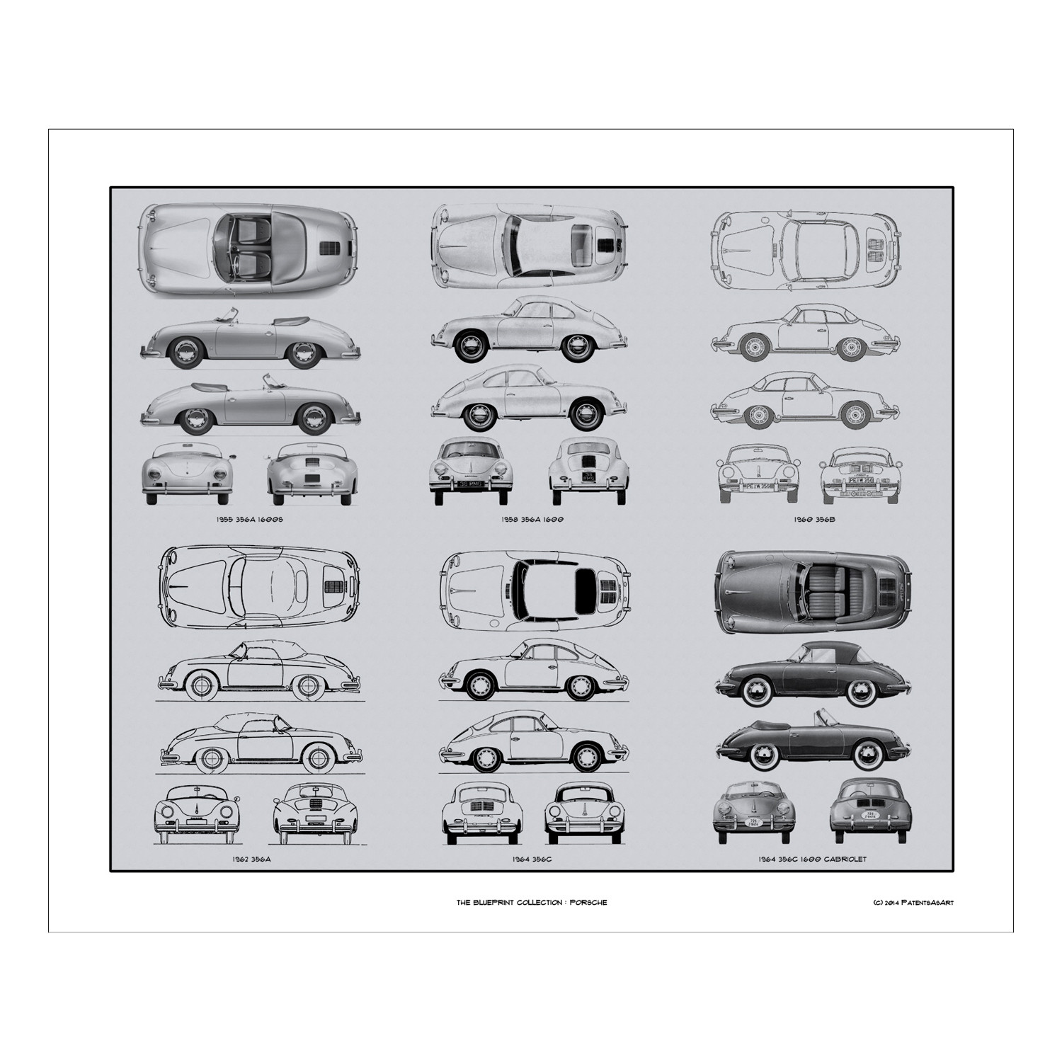 Porsche 356 blueprint collection concept products touch of modern porsche 356 blueprint collection malvernweather Choice Image