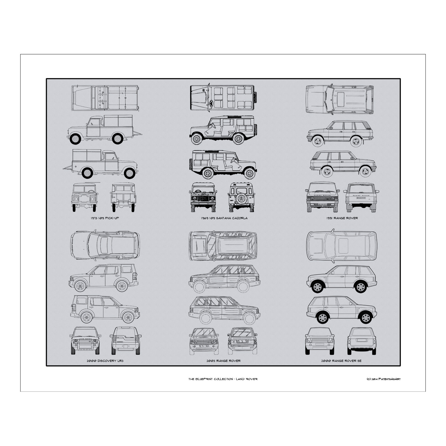 Land rover blueprint collection automotive prints touch of modern land rover blueprint collection malvernweather Choice Image