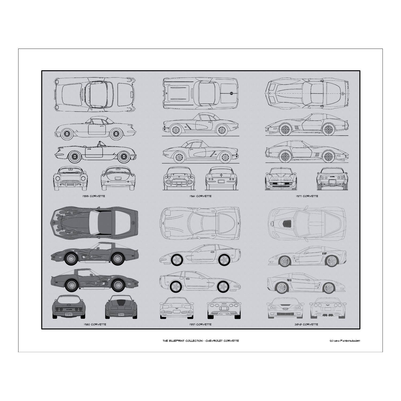 Chevrolet corvette blueprint collection concept products touch chevrolet corvette blueprint collection malvernweather Images