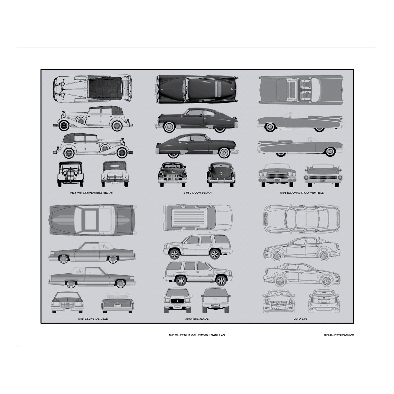 Cadillac blueprint collection automotive prints touch of modern cadillac blueprint collection malvernweather Choice Image