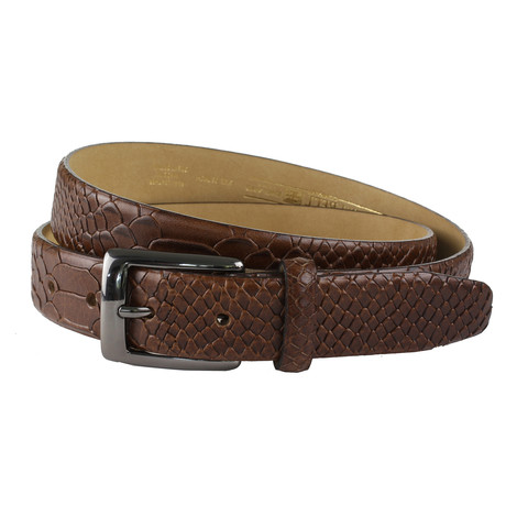 "Burley Italian Embossed Lizard Belt // Dark Tan (32"")"