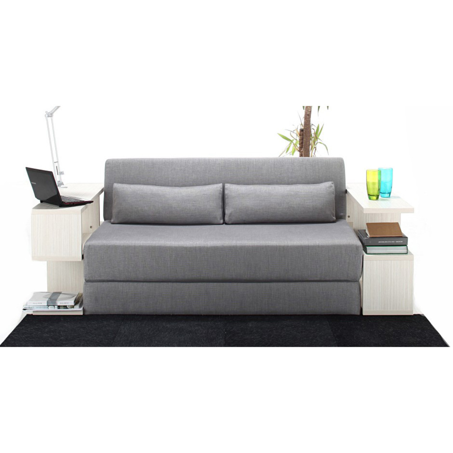 Seatpacking sofa bed light grey nyfu touch of modern for Grey double divan bed