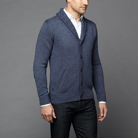 Loft 604 // Cashmere Cotton Shawl Collar Cardigan // Navy Melange