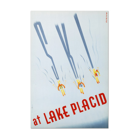 Ski at Lake Placid // Hand-Pulled Lithograph
