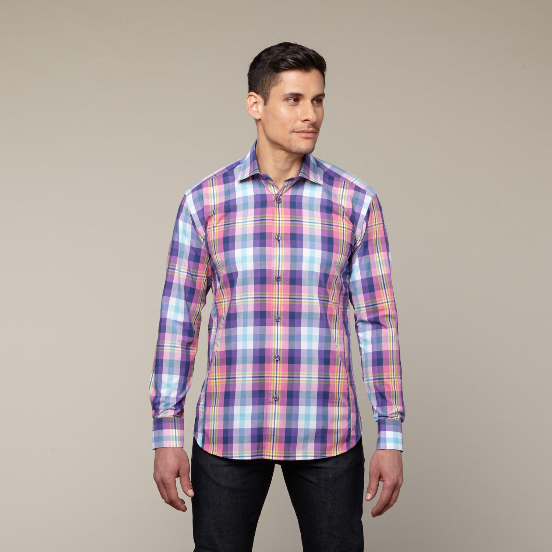 Filipe Poplin Button Up Shirt Navy S Bertigo