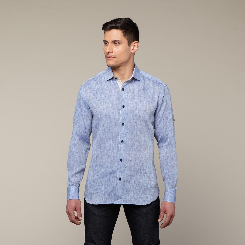 Vidal Button Up Shirt Navy S Bertigo Touch Of Modern